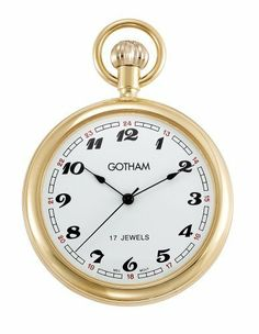 """Gotham Men's Gold-Tone Mechanical Pocket Watch with Desktop Stand # GWC14048G-ST Gotham. $79.95. Includes matching 15"""" curb pocket watch chain with spring ring attachment plus solid brass desk top stand. Large polished 51mm case with scratch resistant mineral glass crystal. Classic and elegant gold-tone reproduction style 17 jewel mechanical pocket watch perfect for engraving. Arrives in beautiful presentation box with Selvyt polishing cloth, lifetime limited warranty and oper..."""