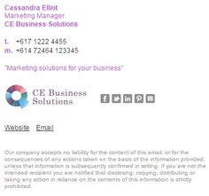A lovely email signature example using purple and dark grey to match their business branding. This one uses our Formal Email Signature Template Style 3 with a disclaimer option. http://emailsignaturerescue.com/formal-email-signature-template
