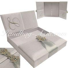 White Wedding Invitation Box Featuring Bride's & Groom's Monogram Embroidery