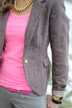 Lilly's Style in our gold chain necklace.  Love the pink and tweed!