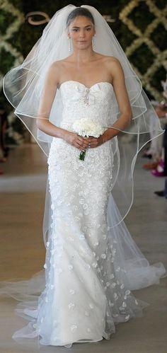 Oscar de la Renta Bridal 2013 ~ White lace paillette embroidered sweetheart trumpet gown