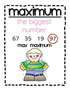 Minimum, maximum, range, mode vocabulary posters