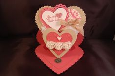 SU! Double heart easel card (tutorial on her website); More Amore DSP; Primrose Petals, Crumb Cake and Whisper White card stock - Gail Emmons