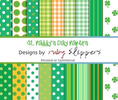 St. Patrick's Day Digital Papers. $3.00, via Etsy.