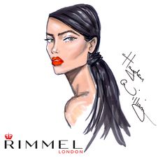 The beauty sketch for look 1. Nude skin and bright orange lips @rimmellondonuk #LFW