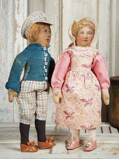 View Catalog Item - Theriault's Antique Doll Auctions Lot: 204. Two American Lithographed Cloth Dolls by Babyland Rag