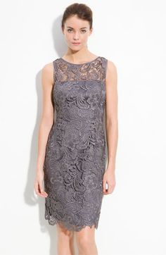 Adrianna Papell Illusion Bodice Lace Sheath Dress (Regular & Petite) available at #Nordstrom  Mom, mother of the bride?
