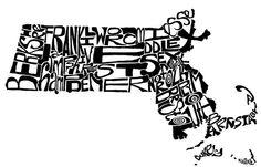 Massachusetts  typography map art print boston map, counti map, food diy, massachusett art, mass counti, art prints, massachusett counti, design, boston art