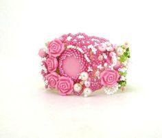Beaded jewelry Seed bead jewelry Beadwork Pink Beaded by ibics, $85.00