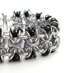 Chainmail bracelet in gray black and silver by TattooedAndChained, $60.00