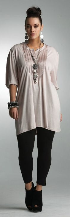 Sheik, classy, straight line casual look! My preference of dressy casual fashion!  PRETTY IN PINK TUNIC## - Tops - My Size, Plus Sized Women's Fashion & Clothing