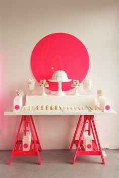 Love this dessert table! Ikea trestle + table top + hot pink mod