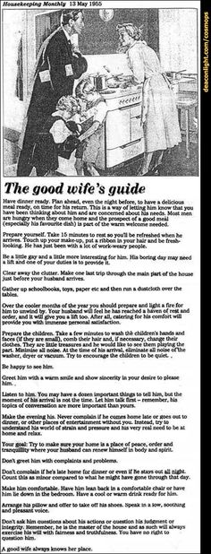 The Good Wife's Guide - Housekeeping Monthly 1955. I'd make a horrible good wife...
