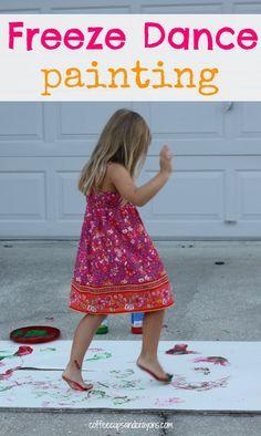 Freeze Dance Painting! A fun gross motor activity for exploring music.