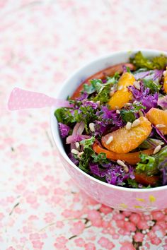 Salads, nutrition and no fat, live healthy on uncoked salads Rainbow Kale Salad Like and Repin :D