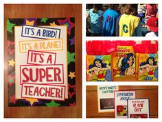 "Teacher Appreciation Superhero theme. Super ""hero"" sandwich lunch, capes, ""feats of strength"" with prizes, and Wonder Woman gift bags!"