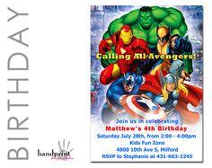 Superhero Avengers Invitation, Avengers Birthday Invitation featuring Captain America, Iron Man, Hulk, Thor and Wolverine. $10.00, via Etsy.