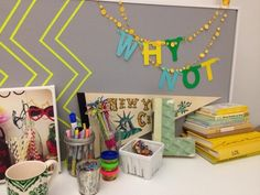 """""""Take a peek at #myawesomedesk Tape art, string confetti & my color-coordinated book collection!"""""""