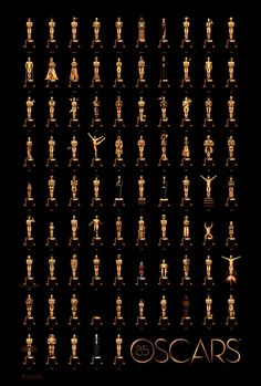 Oscar poster by Olly Moss. UNREAL. Takes all 85 Best Picture Oscars and alters the statuettes to reflect the movie.