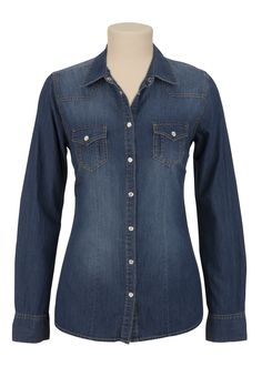 Long Sleeve Dark Wash Denim Shirt - maurices.com - to layer under a black sweater....