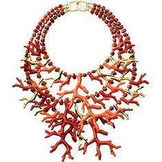 Kenneth J. Lane gold and branch coral bib necklace
