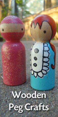 Seven Wooden Peg Crafts for Easy Kids Crafts or Home Decor