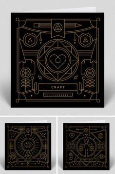 Graphic design inspiration | Black background thin line design