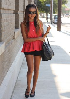 short, weekend outfit, black outfits, peplum top