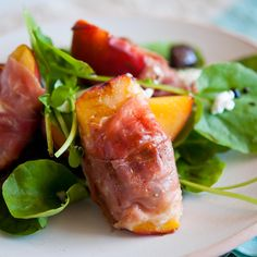 Grilled Peach Salad with Prosciutto and Goat Cheese Recipe