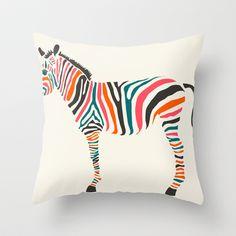 Zebra Throw Pillow by Jazzberry Blue - $20.00