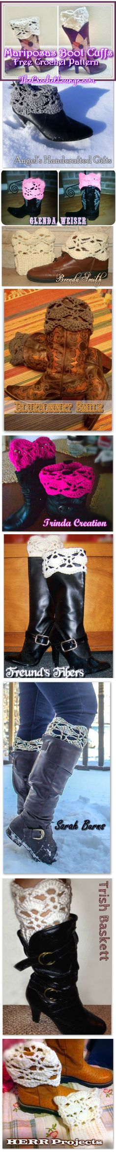 #Crochet Mariposas Boot Cuffs by The Crochet Lounge™   Crochet Free Pattern: http://thecrochetlounge.com/mariposas-boot-cuffs-free-crochet-pattern/  Ravelry Link at bottom of pattern. #TheCrochetLounge #FreePattern  Photo Contributions by: Angel's Handcrafted Gifts, Glenda Weiser, Brenda Smith, Bluebonnet Smile, Trinda Creation, Freund's Fibers, Sarah Burns, Trish Baskett, and HERR Projects