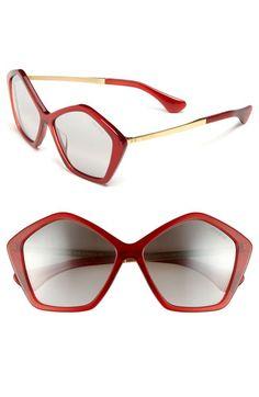 Miu Miu 'Culte Collection' Geometric Sunglasses Red One Size | Sunglasses | STYLABL