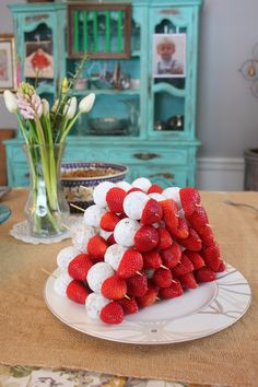 Donut Holes & Strawberries kabobs -- Baby shower food