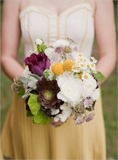 Love this succulent wedding bouquet and the dress.
