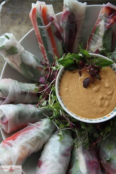 Fresh Chicken Spring Rolls & Coconut Dipping Sauce by @Heather Creswell chr