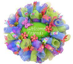 Wreaths For Door - Welcome Friends Mesh Door Wreath For Spring, $99.99 (http://www.wreathsfordoor.com/welcome-friends-mesh-door-wreath-for-spring/) mesh wreath, mesh door, wreath mesh, wreathsdoor decor, door wreath