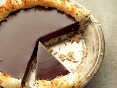 martha stewart's crispy coconut and chocolate pie. (4 ingredients total)