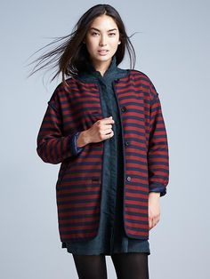 Stripe collarless coat