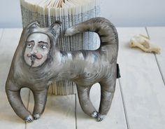 cat-man a painted folk art doll - soft sculpture