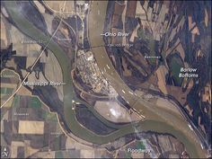 Confluence of Ohio and Mississippi Rivers at Cairo, IL