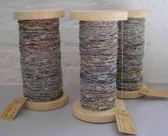 Tutorial: DIY handspun recycled newspaper yarn.