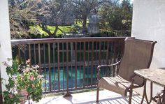 Beautiful view of the crystal clear Comal River from private patio on unit A116