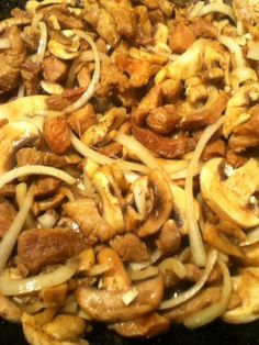T's Crispy Pork with Mushrooms and onions