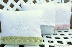 tutorial to make these gorgeous cushions using vintage lacework and  tea towel with modern trimming - beautiful for beds, chairs and nurseries