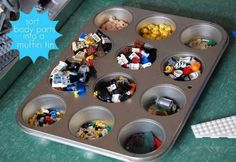 lego-storage-muffin-tin [Plus 11 other Lego storage ideas]