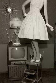 vintage  television  posing  retro