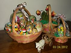 Part of my Vintage Easter Basket and  German Egg Collection