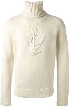 FACONNABLE White Anchor Print Sweater | The House of Beccaria~