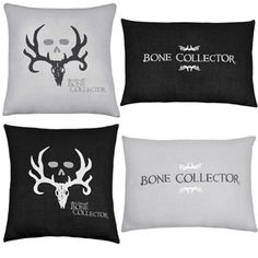 Bone Collector Black / Grey Skull Pillows