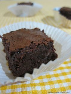 Fudgy Brownies This is chocolatey fudgy goodness, my friends. There are people who like cakey brownies, people who like fudgy brownies, and those that like in-between brownies. I fall under the fudgy category. Melt-in-your-mouth, dense, chocolatey goodness fudgy (with a nice thin top crust).